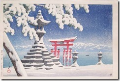 Hasui Snow at Itsukushima